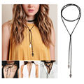 Vintage Necklace Accessory Girls Long Tassel Necklace Diy PU Necklace Women's Nightclub Party Cocktail Sexy Choker Necklace