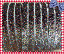 "5/8 ""pulgadas 16mm Stretch Rainbow Glitter Ribbon Velvet"