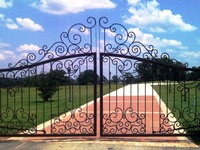 Handmade top villa wrought iron gate one stop shipping to USA hench lg7