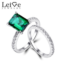 Leige Jewelry Emerald Rings Set Green Gemstone Engagement Rings for Women Sterling Silver 925 Rings Fine Jewelry Emerald Cut