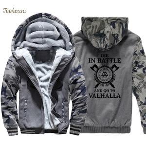 Image 3 - Odin vikings hoodie homem morrer em batalha e ir para valhalla com capuz moletom casaco inverno quente velo grosso filho de odin jaqueta dos homens