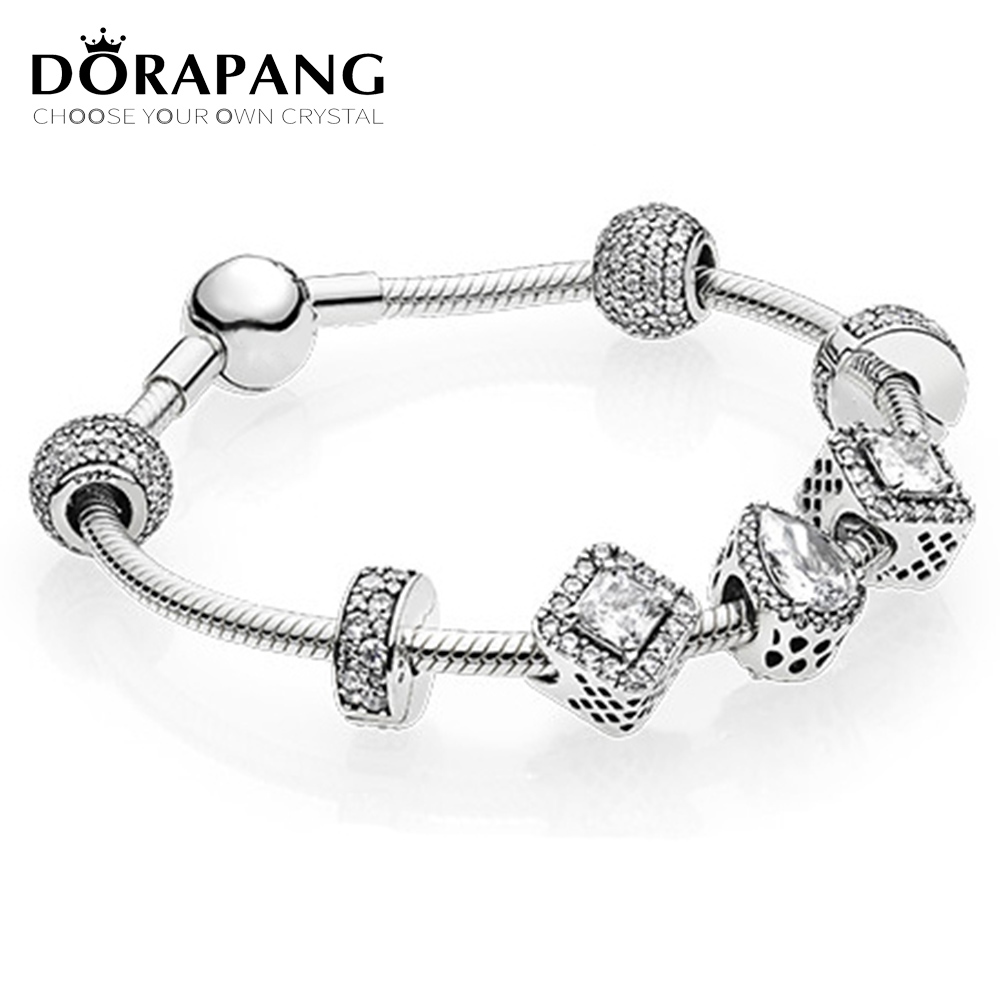 DORAPANG 2017 NEWEST 100% 925 Sterling Silver Hand catenary suit Clear CZ Charm Bead ESSENCE Bracelets DIY For Women Jewelry a suit of cute rhinestone elephants alloy bracelets for women