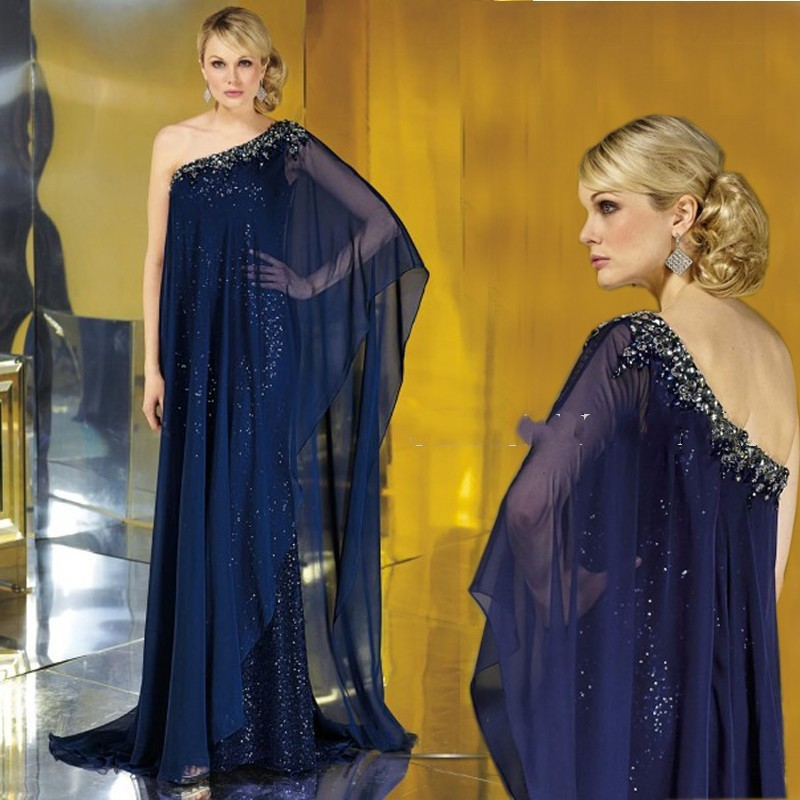 New Dubai Kaftan Chiffon Sequin Celebrity Vestido One Shoulder Kaftan Arabic Navy Evening Dress 2016 A