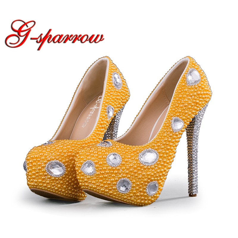 2018 Wedding Shoes Yellow Pearl High Heel Platforms Wedding Party Pumps with Silver Rhinestone Heel Bridal Dress Shoes Plus Size2018 Wedding Shoes Yellow Pearl High Heel Platforms Wedding Party Pumps with Silver Rhinestone Heel Bridal Dress Shoes Plus Size