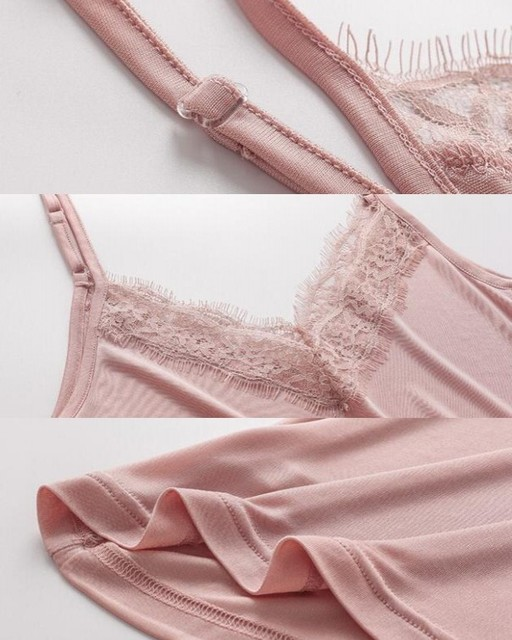 1pc 50% Silk 50% Viscose Knit V neck Lace Camisole Top Vest Shirt Sleepwear Spaghetti Strap SS005 5