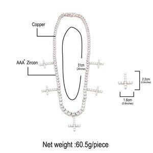 Image 2 - Catene da Tennis a 1 fila di zirconi cubici ghiacciati Uwin con collana pendente a croce larghezza 5mm moda per gioielli uomo/donna