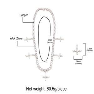 Image 2 - Uwin אייס מתוך מעוקב Zirconia 1 שורה טניס שרשרות עם צלב תליון שרשרת 5mm רוחב אופנה לגברים/ נשים תכשיטים