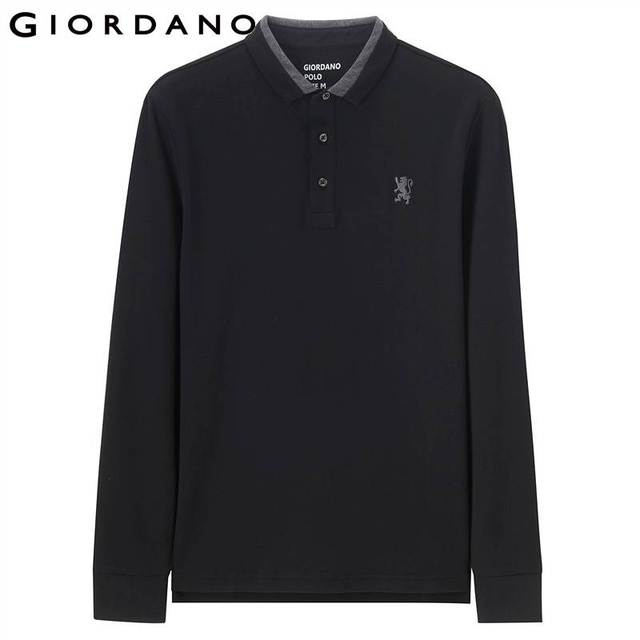 Giordano Men Polo Shirt Men Embroidery Lion Polo Men Long-sleeve Men Polo Shirts Slim Fit Polo Homme Warm Stylish Camisa Winter 1