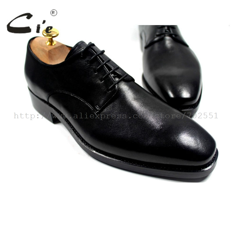 cie Free Shipping Square Plain Toe Goodyear Welted Handmade Genuine Calf Leather Men's Dress Derby Lacing Black Shoe NoD44