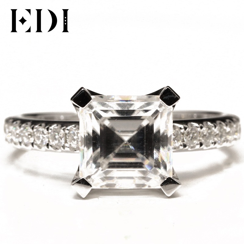 EDI Luxurious Diamond Engagement Ring 3CT Emerald Cut Moissanite 8mm Lab Grown Diamond 9K Wihte Gold Wedding Ring Band For Women transgems 1ct carat lab grown moissanite diamond jewelry wedding anniversary band solid white gold engagement ring for women