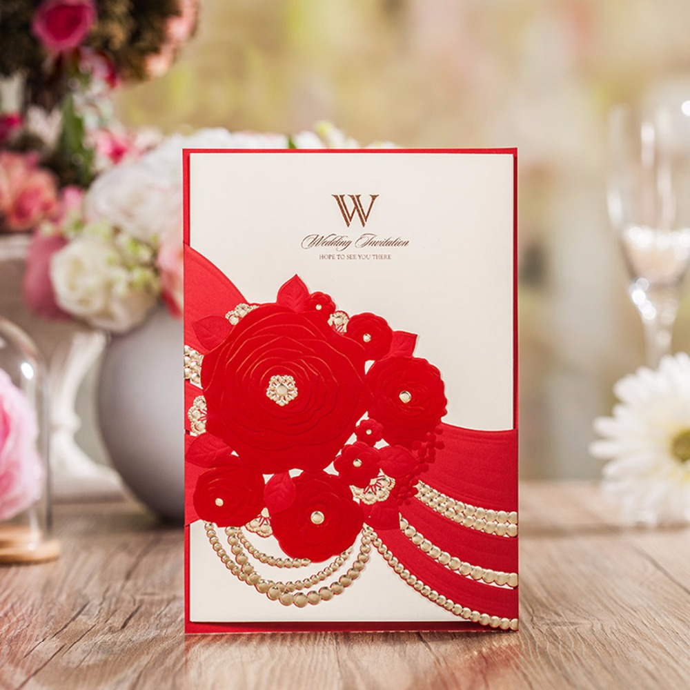 Luxury Flowers Wedding Invitations Cards with Bronzing Tri fold ...