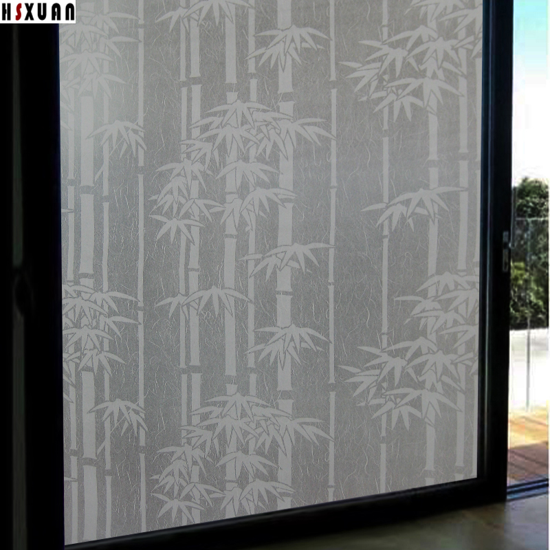 bamboo decorative window film 91x100cm furniture decor frosted opaque pvc self adhesive glue window sticker - Decorative Window Film