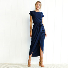 Women Summer Dress Ankle-length Empire O-neck High Quality dress Bohemian Asymmetrical Solid