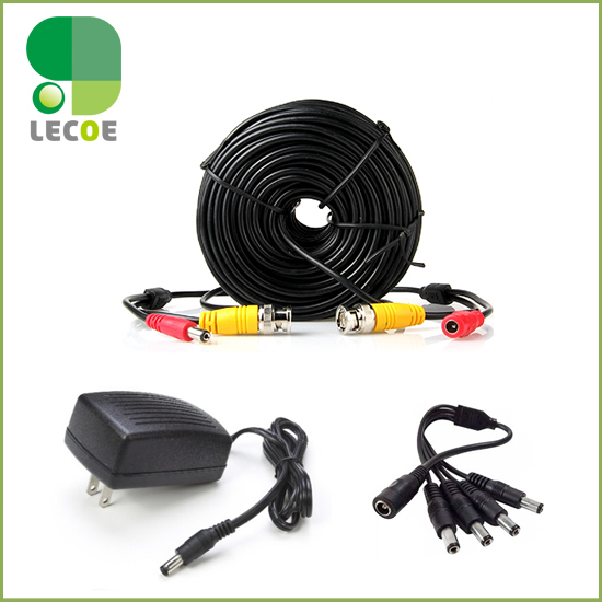 20m/65ft CCTV BNC Cable  with DC plug Power extension cable+1 to 4 way Power splitter +12V 2A Power Supply for CCTV Camera bnc dc connectors cctv camera extension cable 50m