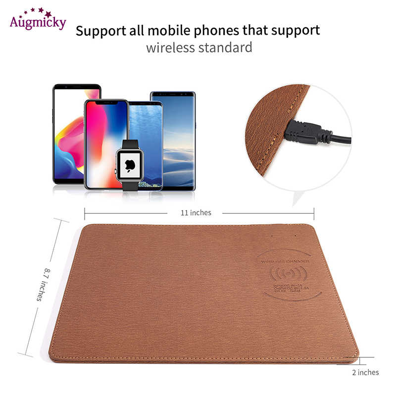 2018 Mobile Phone Qi Wireless Charger Charging Mouse Pad Mat PU Leather  Mousepad for iPhone X/8 Plus Samsung S8 Plus /Note 8| | - AliExpress
