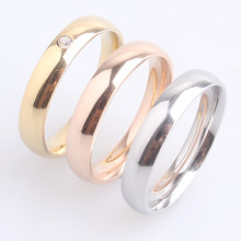4mm gold color and silver three circle crystal 316L Stainless Steel wedding rings for men women wholesale(China)