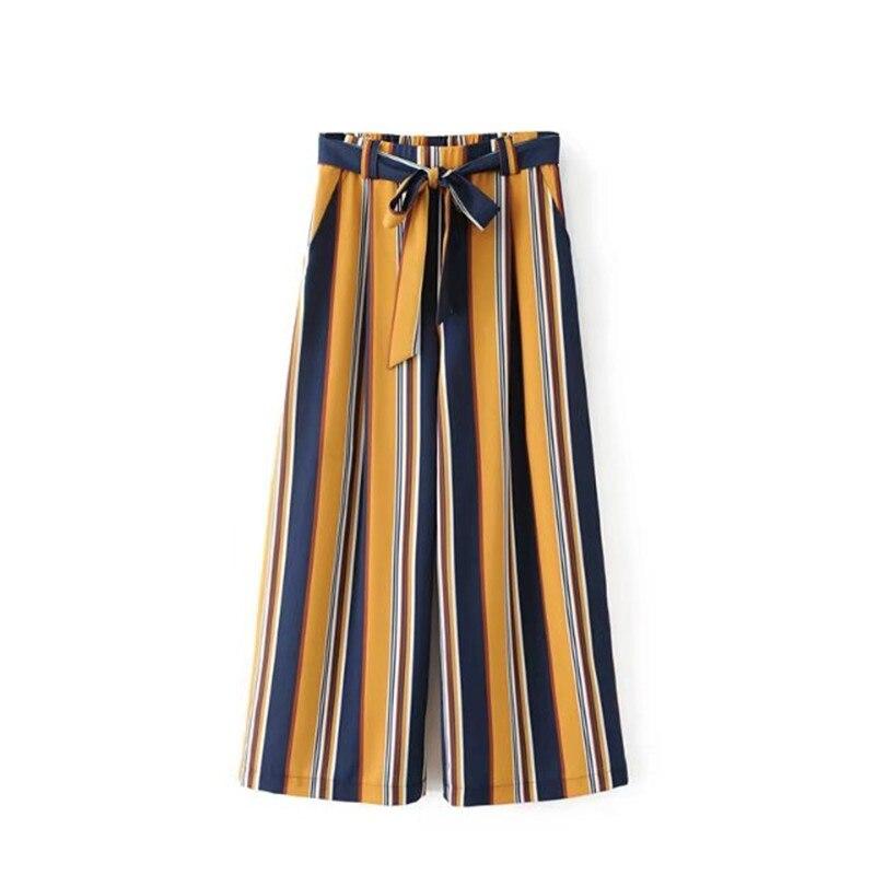 2018 summer new beach   pants   beach holiday wind belt casual   pants   nine   pants   female, wild striped loose loose   wide     leg     pants
