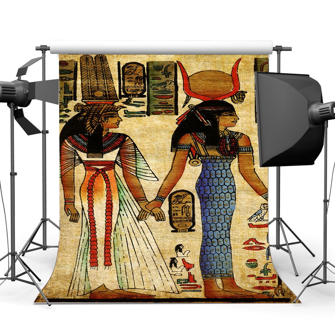 Shabby Egypt Backdrop Old Egyptian Mural Painting Backdrops Ancient Pharaoh and Hieroglyphics Background-in Background from Consumer Electronics
