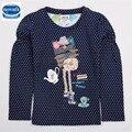 Varejo pouco polka dot t-shirt da menina 2016 nova crianças usam algodão padrão lindo menina impresso roupas desgaste da criança roupas infantis