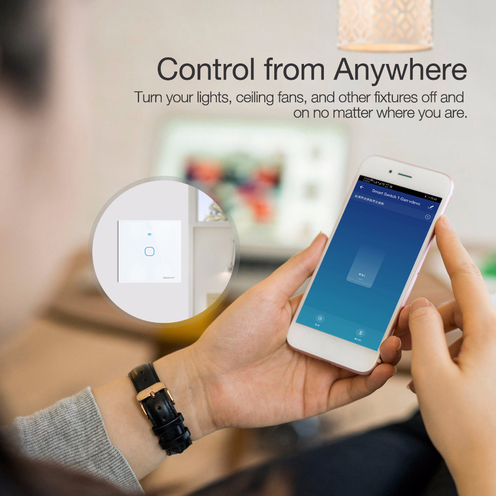 Image 3 - SESOO Wifi Smart Wall Light Switch 1 Gang APP Remote Smart Home Wall Touch Switch Works With Alexa / Google Home-in Switches from Lights & Lighting