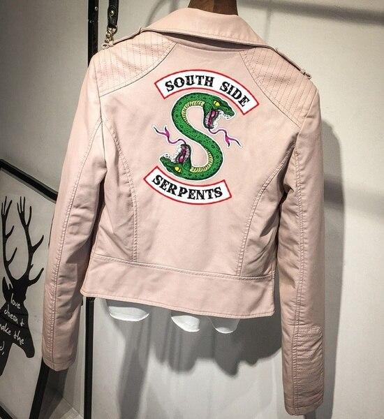 Riverdale PU Printed Logo Southside Serpents Pink Black Jackets Women Riverdale Serpents Streetwear Leather Jacket