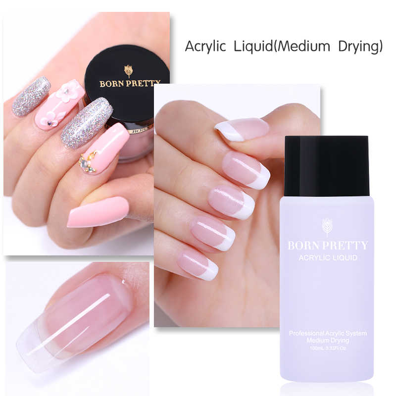 eb226d88c82 BORN PRETTY Acrylic Liquid 100ml Quick Builder Crystal Powder Lacquer  Medium Drying UV Gel Design for Nail Extension Tips