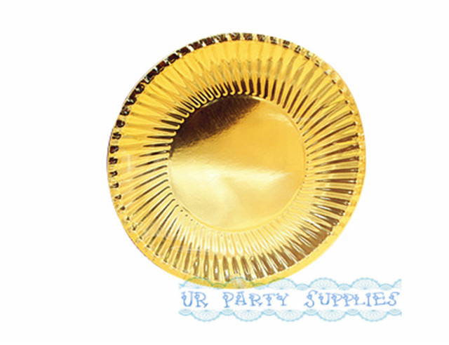 100pcs Gold Foil Paper Plate Large 9inch Party Paper Plates Metallic Gold Disposable Tableware for Event  sc 1 st  AliExpress.com : gold disposable plates - pezcame.com