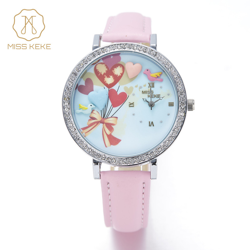 MISS KEKE Geneva New Clay Sød Mini World Balloon Watch Lås Rhinestone Relogio Feminino Ladies Kvinder Læder Armbåndsure 203