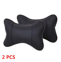 2 PCS PU Leather Warm Car Seat Pillow Hole Digging Winter Car Headrest Leather Auto Supplies