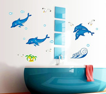 big sea fish delphis luminescence wall sticker decals fluorescent ocean DIY wallpaper stickers children  bathroom shower decor