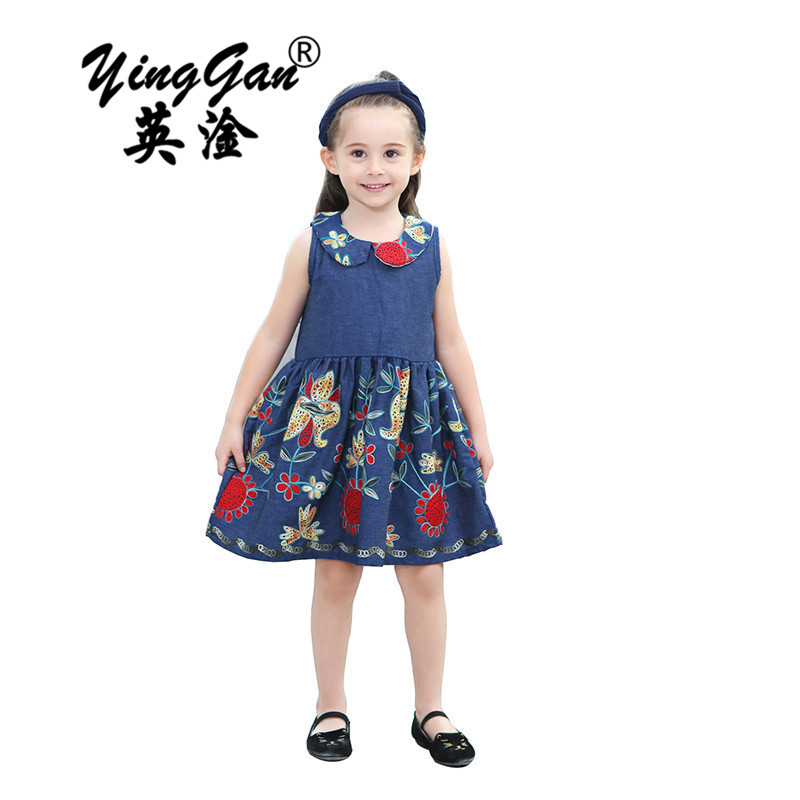 Girls Summer Jeans Dresses Sleeveless Blue Cotton Dress For Little Girl 2017 New Brand Clothing Kids Children Clothes 2-8year