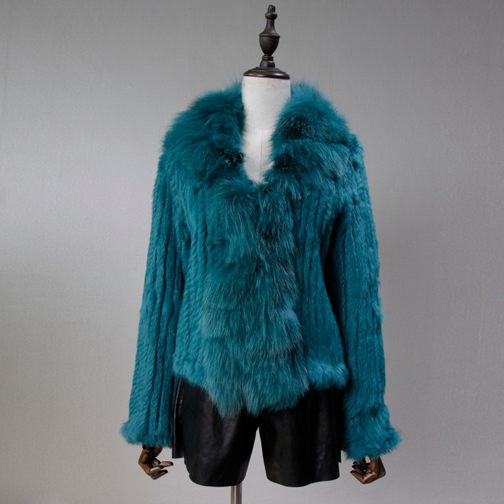 Fur Story 17103 Women Knitted Real Rabbit Fur Coat with Fox Fur Collar Winter Warm Solid
