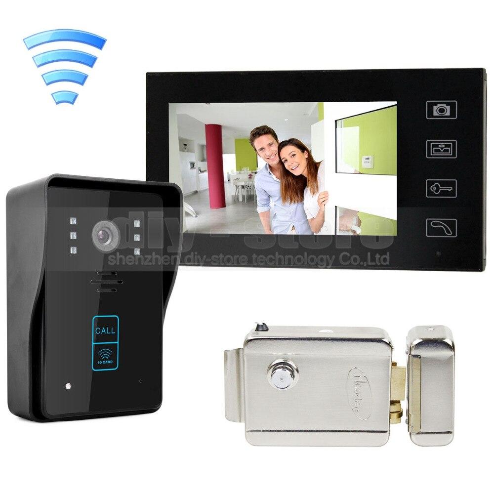 bilder für DIYSECUR Drahtlose 7 Zoll Video-türsprechanlage Sprechanlage Türklingel Home Security RFID Kamera + Elektroschloss Sicherheits Eintrag Intercom