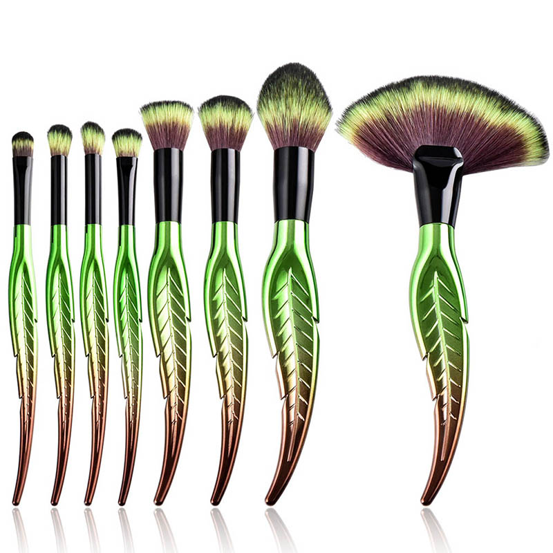1 pcs Green Makeup Brushes Set Cosmetic Foundation Eyebrow Eyeliner Blush Powder Concealer Leaf Shape Handle Makeup Brushes