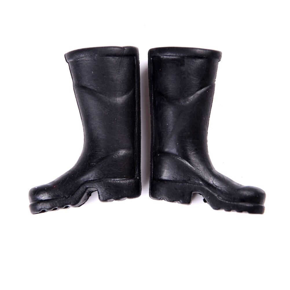 Cute Miniature Dollhouse 1 Pair Black Rain Boots Shoes For 1:6 1:12 Doll Gift ^