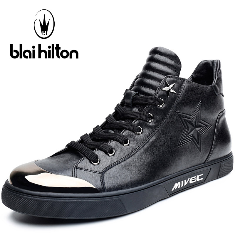 Blaibilton Lace Up Thermal Skateboard Shoes For Men Genuine Leather Men's Sneakers Breathable High Top Sport Shoes Man Brand