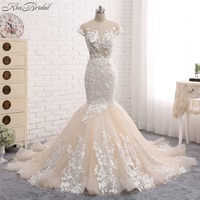 New Sexy Long Wedding Dress 2018 Scoop Neck Sleeveless Court Train Appliques Lace Tulle China Bridal Gowns Vestido de noiva