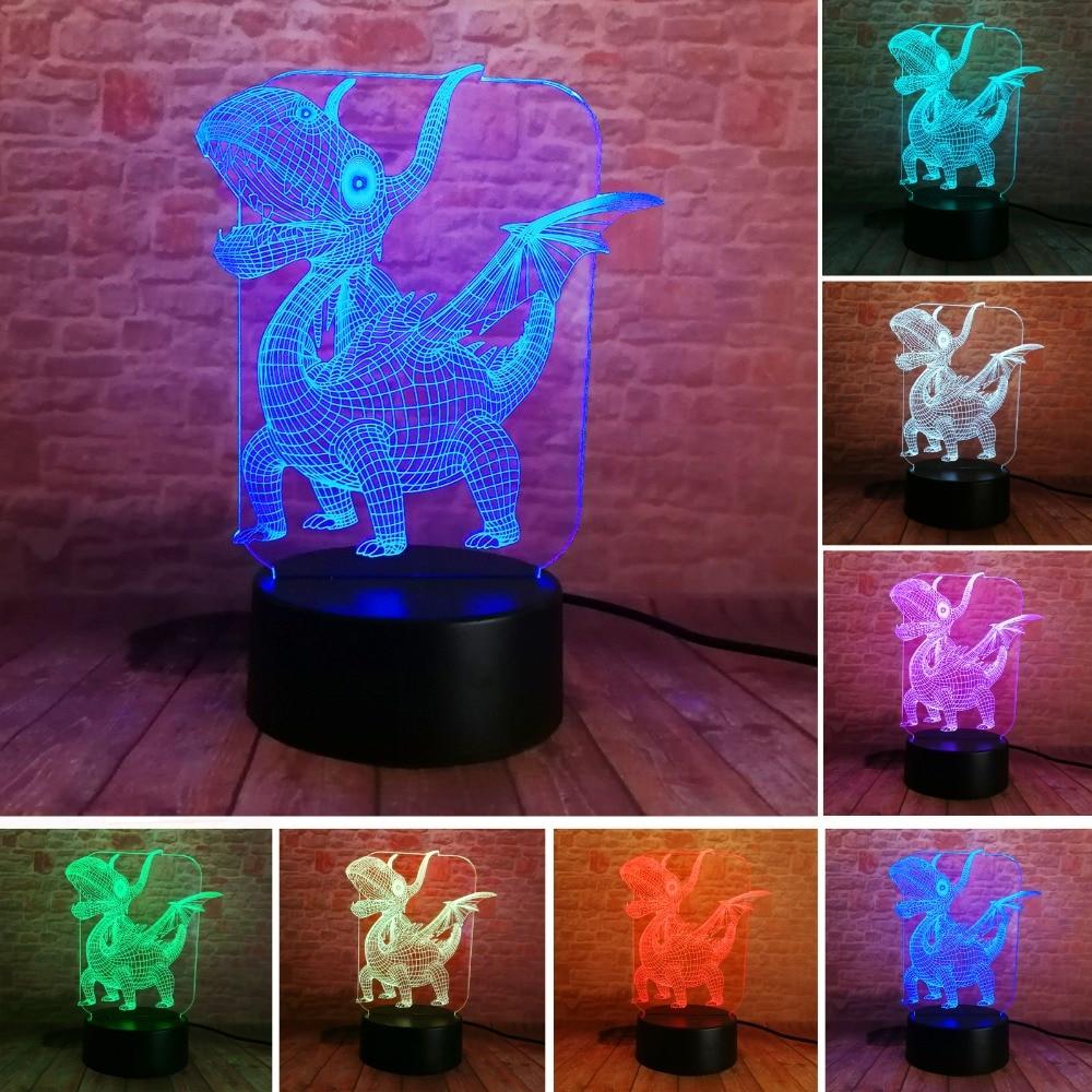 Jaunums 3D Pterosaur dinozaurs LED Visual 7 krāsu gradients Nakts gaismas galds Guļamistaba Gultas veļas lampas dekors Bērns Bērnam Ziemassvētki Rotaļlietu dāvana