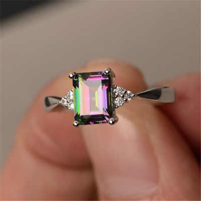 ผู้หญิงใหม่สีขาวแหวนเจ้าหญิงตัดสายรุ้งคริสตัลสแควร์ Rhinestones แหวนหมั้นเครื่องประดับของขวัญ