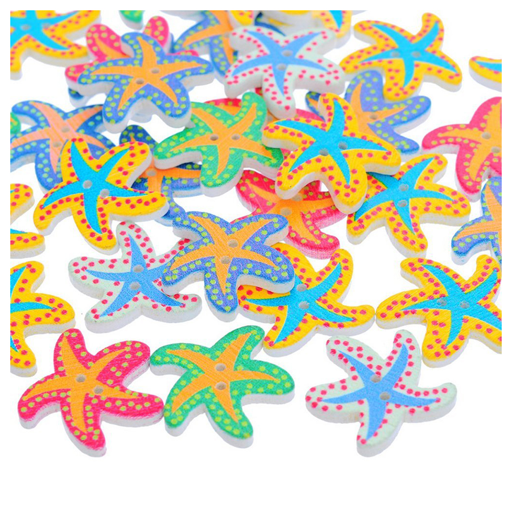 NEW Afordable 50pcs Lovely Colorful Sea Starfish 2 Holes Wooden Buttons Best For Children