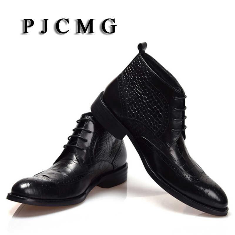 Мужские ботинки высокого качества PJCMG Зимние ботильоны непромокаемые резиновые с узором «крокодиловая кожа» повседневные кожаные плюшевые походные высокие мотоботы