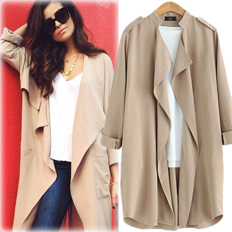 Vogue New Long Cardigan Women Nice Fashion Long Sleeve   Trench   Coat For Womens Windbreaker Casual Loose Solid Outerwear Top Gift