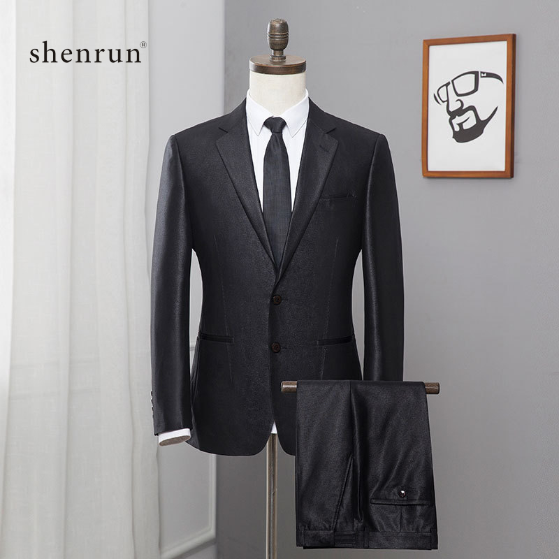ShenRun 2019 Black Formal Men Suit Slim Fit Mens Suits Bespoke Groom Tuxedo Blazers Pans For Wedding Jacket And Pant 2PCS