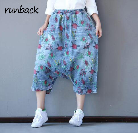 2017 Summer Denim Pants Elastic Waist Floral Print Nepal Style Calf Length Pantaloni Loose Cross Pants Jeans In Women Jeans social sufferings of widows in nepal