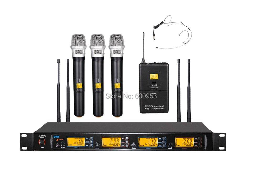 MiCWL Audio UHF système de Microphone micro karaoké sans fil 3 poche 1 mini casque noir omnidirectionnel à crochet d'oreille