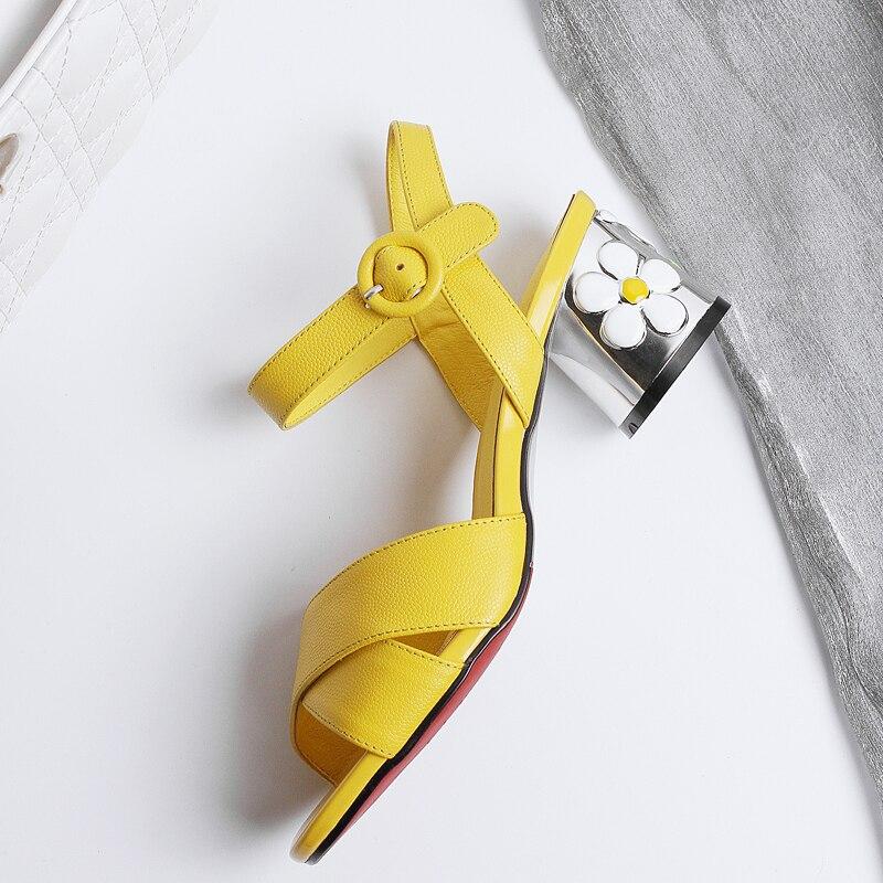 Einfache Ankunft Blume Prom Grün Heels Partei Schuhe Frau 2019 gelb Sommer Platz Neue Frauen Süße Sandalen qp6q5Izw