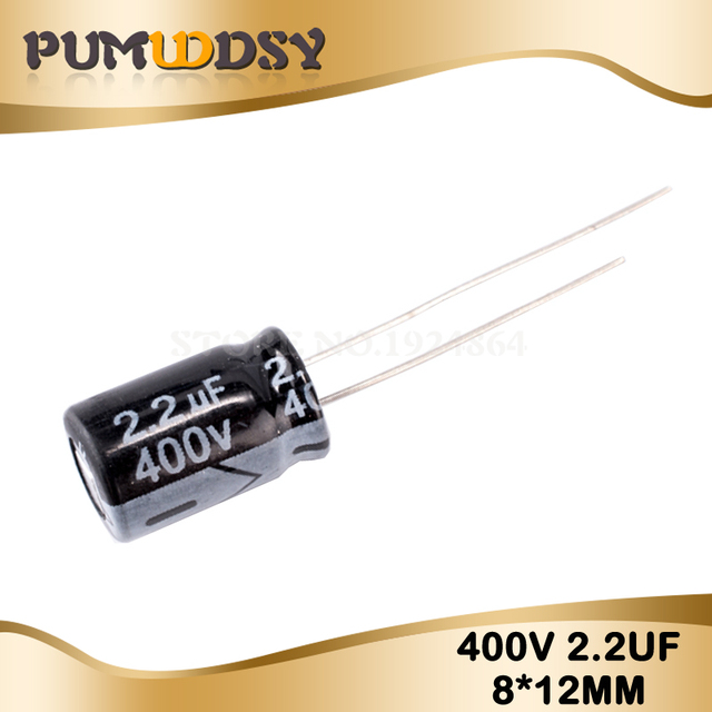 20PCS Higt quality 400V2.2UF 8*12mm 2.2UF 400V 8*12 Electrolytic capacitor