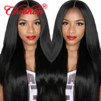 High Density Remy Human Hair Lace Front Wigs for Women 130%/150%/180%/250% Black/Brown Long Straight Hair Brazilian Wig 8-24""