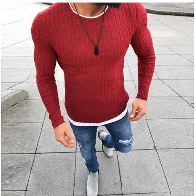 o-neck slim fit sweater pullovers plus size s-5xl