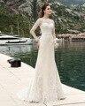 Dreagel Элегантный Длинные Рукава Оболочки Свадебное Платье 2017 Новый Прибытие Изысканный Аппликации Тонкий Женщины Свадебное Платье Vestido де Noiva